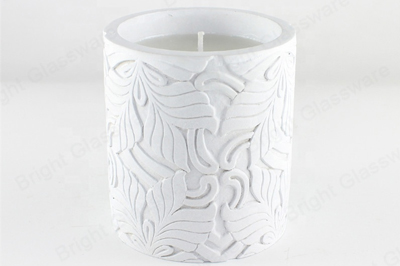 Customized wholesale empty cylinder cement candle jar with lid concrete candle holders
