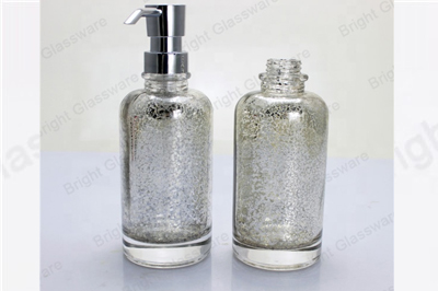 custom silver plating design 200ml glass shampoo bottle with pump spray for personal care