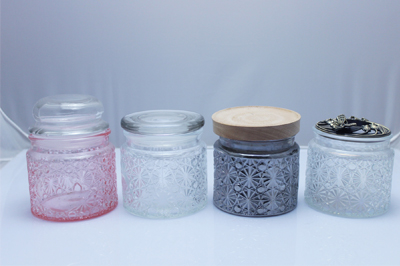 Fancy food grade clear carving pattern storage container candy cookie glass jar