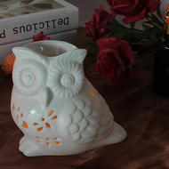 Creative lovely white owl ceramic aroma burner for home Decoration Vido