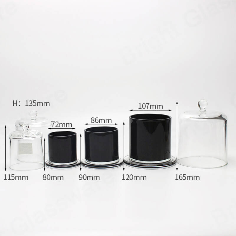 Free sample luxury black glass dome candle holder glass cloche jar wholesale