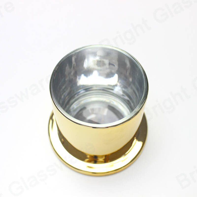 Custom plated gold candle glass jar dome lid for wholesale