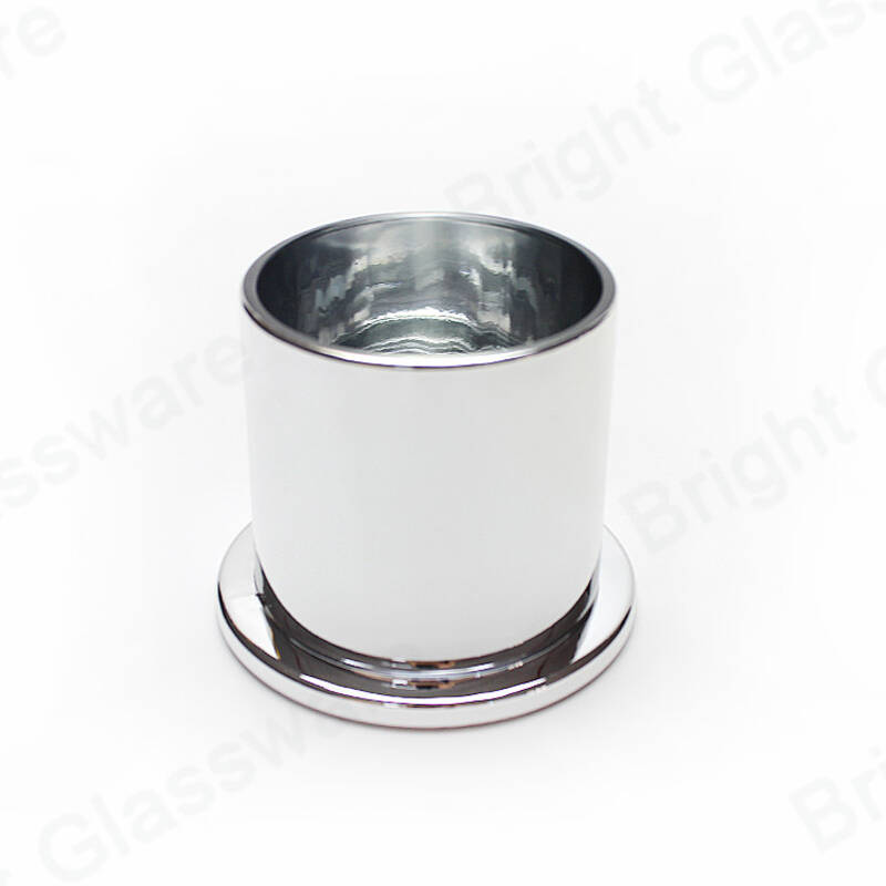 Round Mercury Silver Domed Cover Glass Candle Holder Cloche Jar with Glass Base