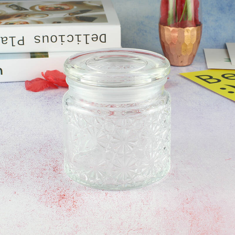 Fashion Decorative pattern european design wedding favors food storage round transparent glass cookie jar