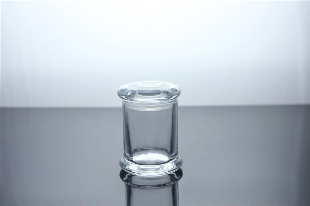 Top sale 2oz Clear Cylinder Small Base Danube Candle Jar With Flat Lid