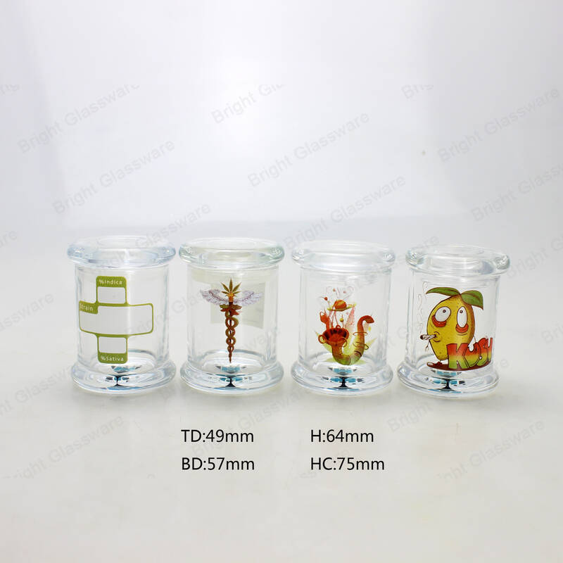 Customized Decal Logo Clear Round Glass Candle Jar With Glass Flat Lid