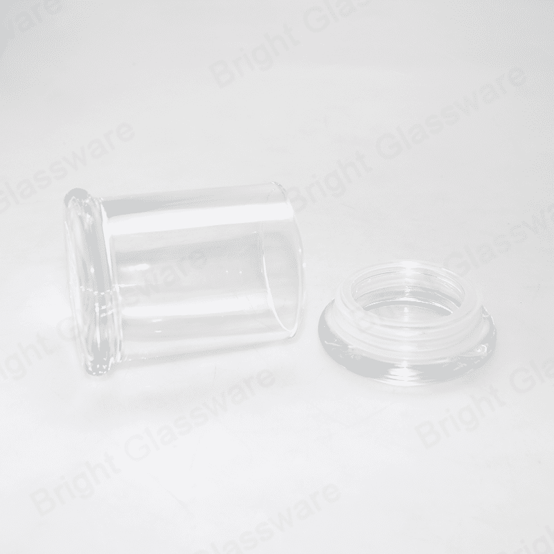 6oz Flat Top Clear Libbey Status Jar Danube Large Base Candle Holder With Glass Lid