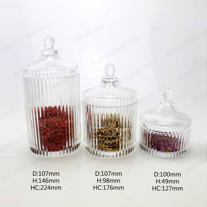 Elegant Crystal Design Decorative Weddings Glass Candy Storage Jar