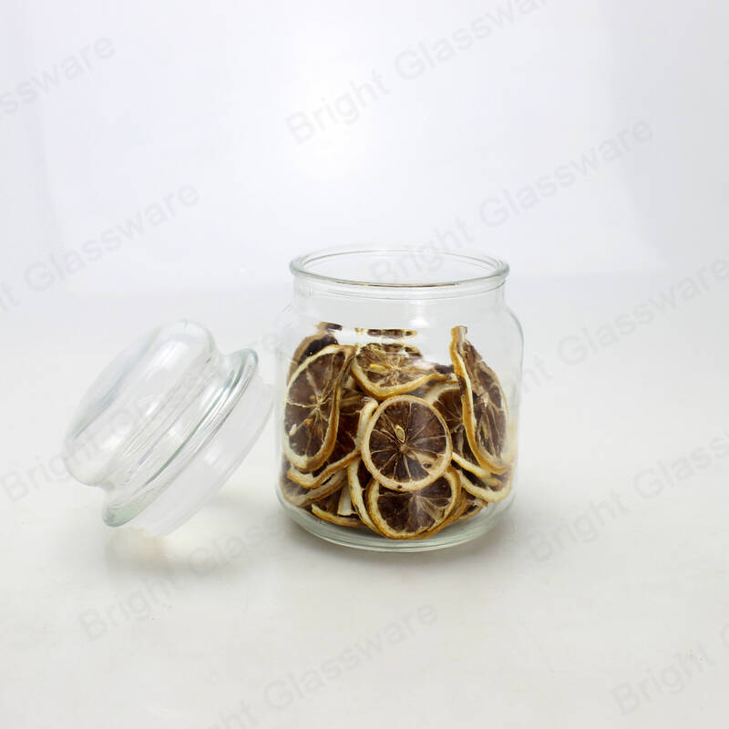 Food healthy glass transparent crystal glass storage jars with lids