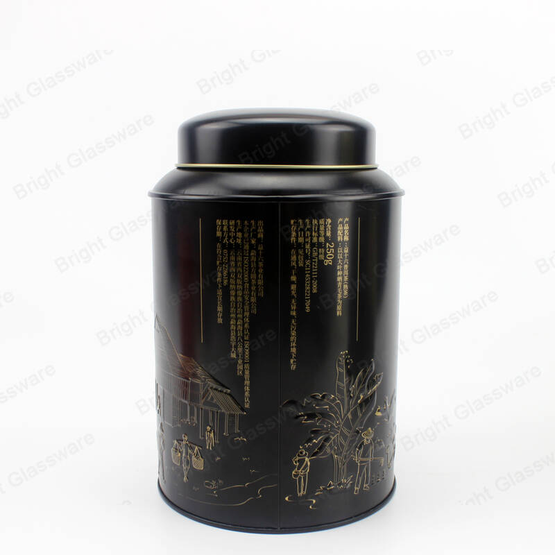 250g Round Black Metal Tin Can Tea Container with Lid