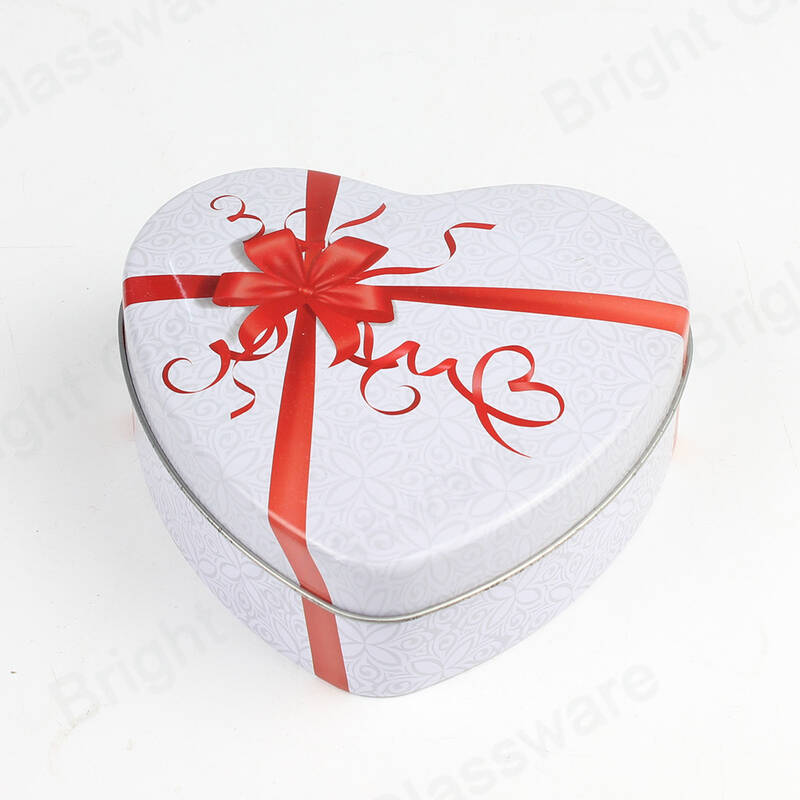 Romantic Heart Shaped Metal Tin Box Candy For Valentine's Day Chocolate Can