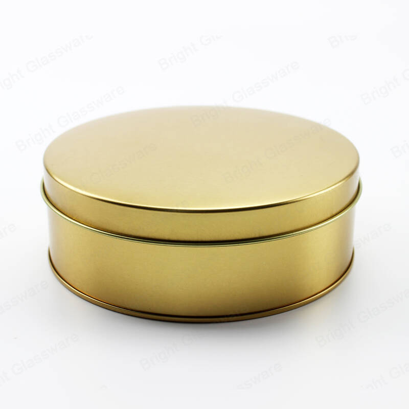 Custom logo printing yellow round candy cookies and biscuit tin box for christmas gift