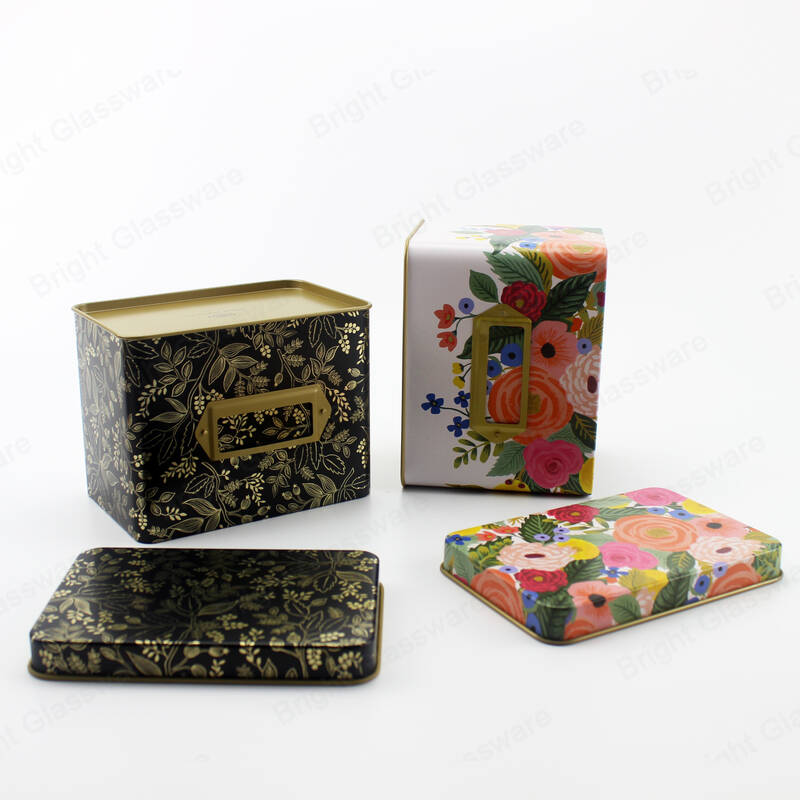 custom printed square metal tin can packaging for food