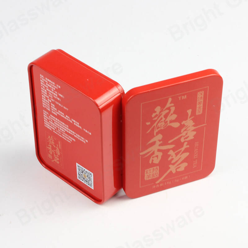 Chinese style red printing tea canister tin metal rectangle coffee tin storage packaging gift boxes
