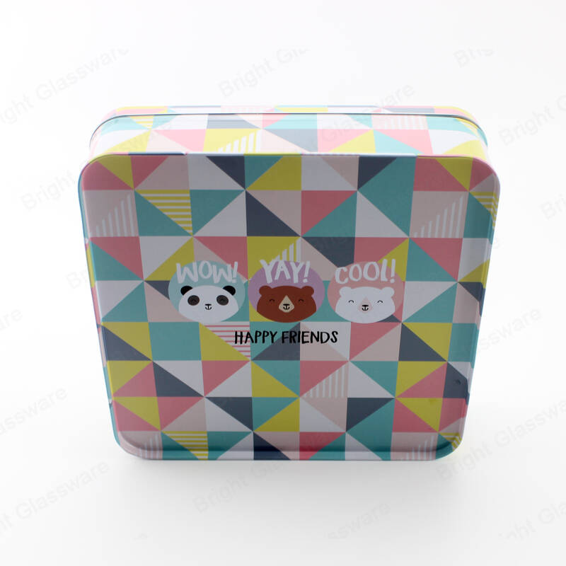 Square tin box with window for Christmas candy gift packaging