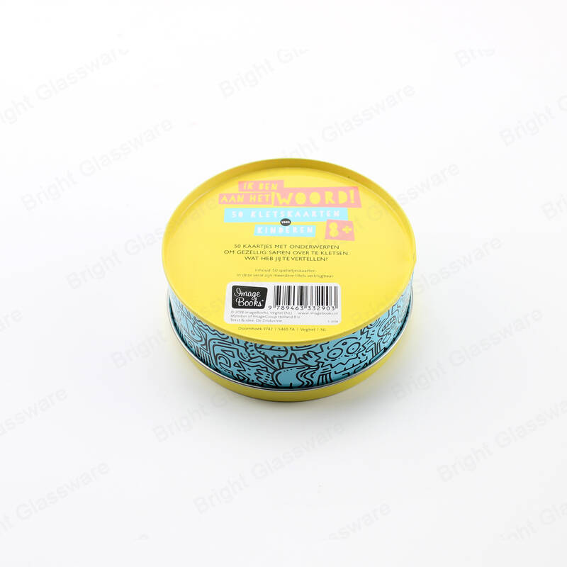 China food grade round candy cookie metal tin box with clear window