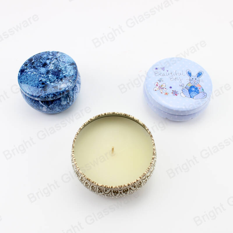 Luxury Round Natural Soy Wax Scented Candles in Tins Jar with Airtight Lid Gift Box