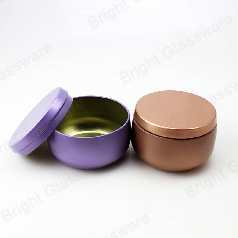 Fancy rose gold purple tin box scented wax tin candles container for Event use
