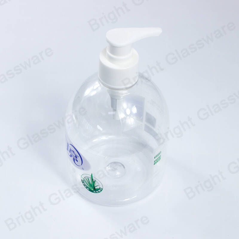 Empty clear plastic hand wash bottle 500ml with pump in stock