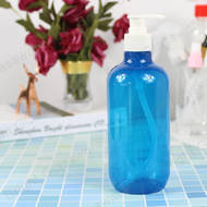 wholesale blue boston round 500ml plastic dispenser pump bottle for essential oil lotion shampoo packaging