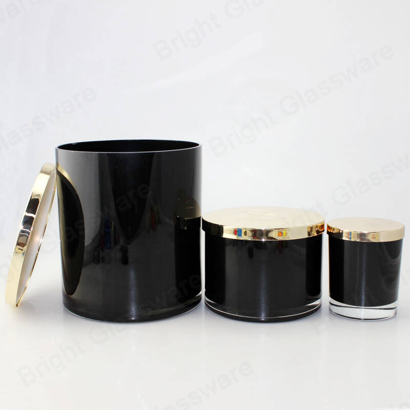Custom black empty 90OZ 35OZ large glass candle holders with metal lid for Christmas decoration