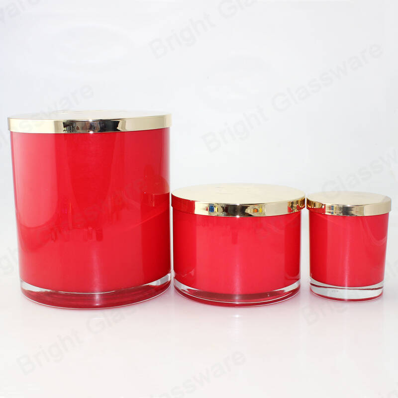 Classic cylindrical recycled empty large round candle  Glass Jars Tumblers for 3 wicks candle making