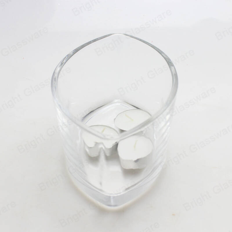 Luxury Wood Wick Leaf Shaped Candle Holder Glass With Wooden lid For 2 Wick Soy Wax Candles