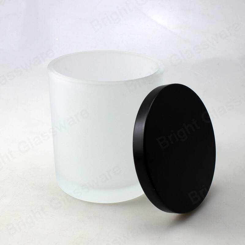 Frosted glass candle jar with wood lid white glass candle vessels wholesale