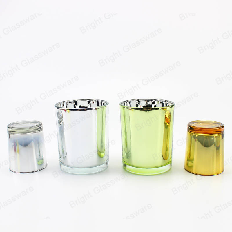 Custom 3oz glass jar plating laser engraving silver gold candle holders for wedding decor