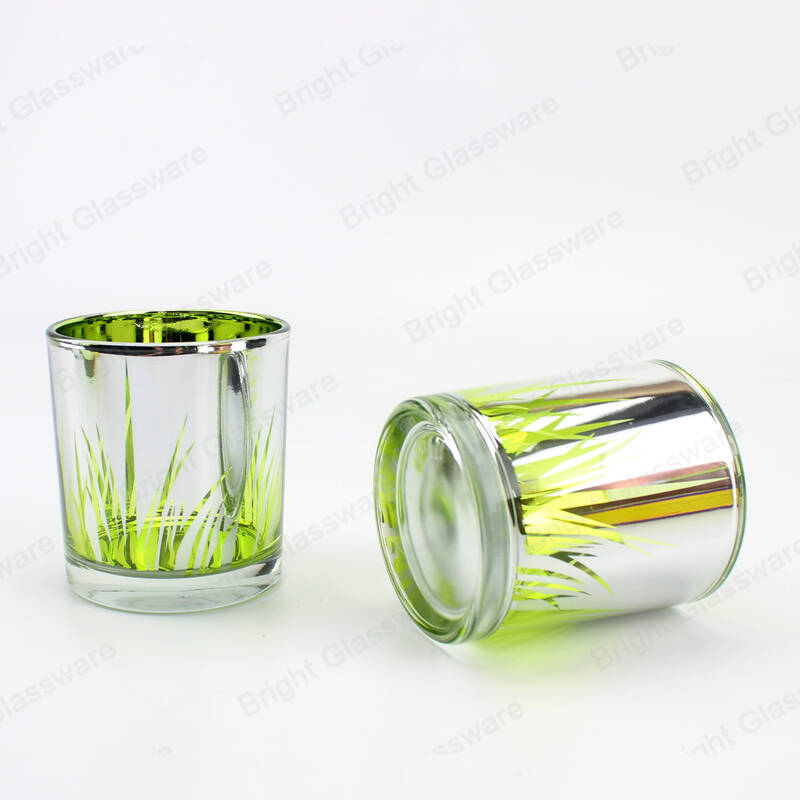 Plated sliver glass candle containers cylinder laser engraved candle holder for wedding table centerpieces