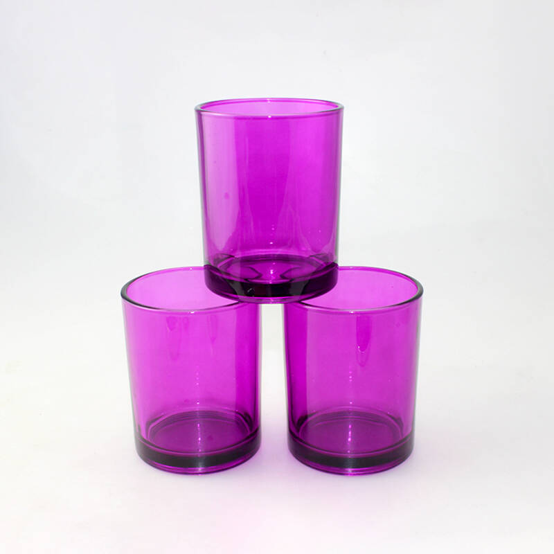 Good Price Purple Glass Candle Holder with Wooden Lid Colorful Rose Madder Glass Candle Jar
