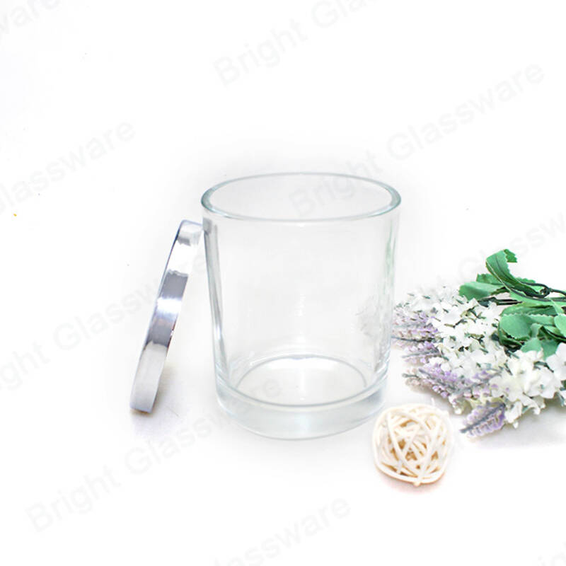 High quality thick bottom empty scented candle holder clear glass candle jars with metal lids