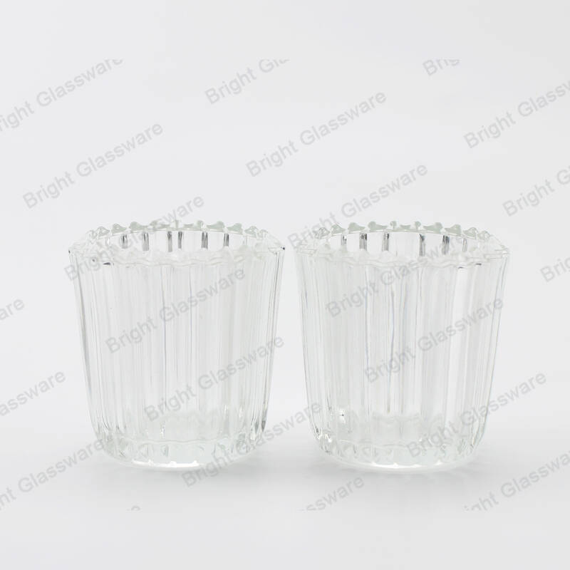 Custom religious vertical stripe candle container for soy wax empty clear glass candle jar in stock