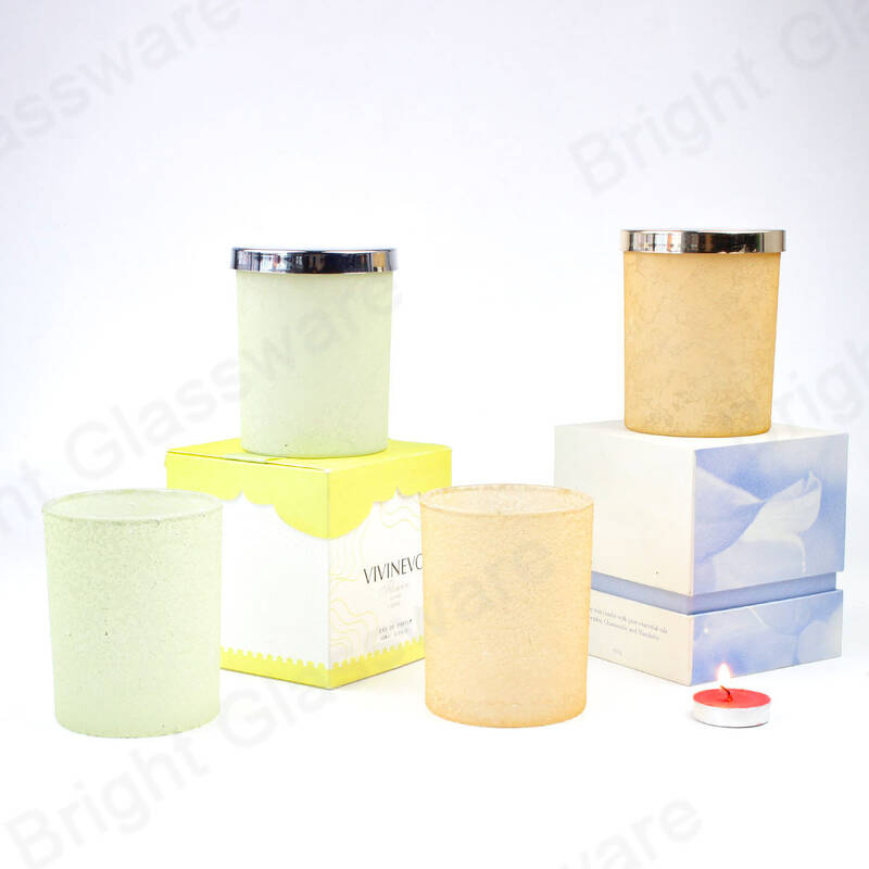 New design frosted 8 oz empty luxury candle glass jar holder with metal lids and gift packing box