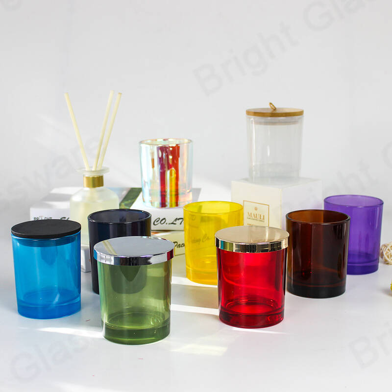 Custom colorful luxury empty glass candle jars with metal lids for home decoration