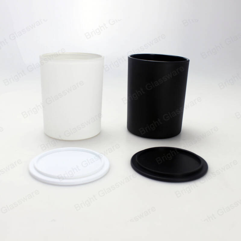 8oz & 15oz matte black glass jar candle with plastic candle lid for home decoration