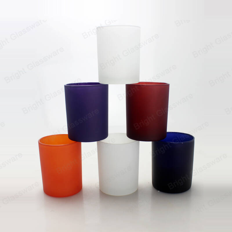 Multiple color candle holder frosted glass jars for candles with custom logo