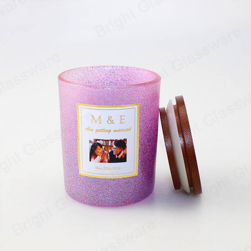 Custom unique purple color spray empty candle jar glass candle vessels with lid wholesale