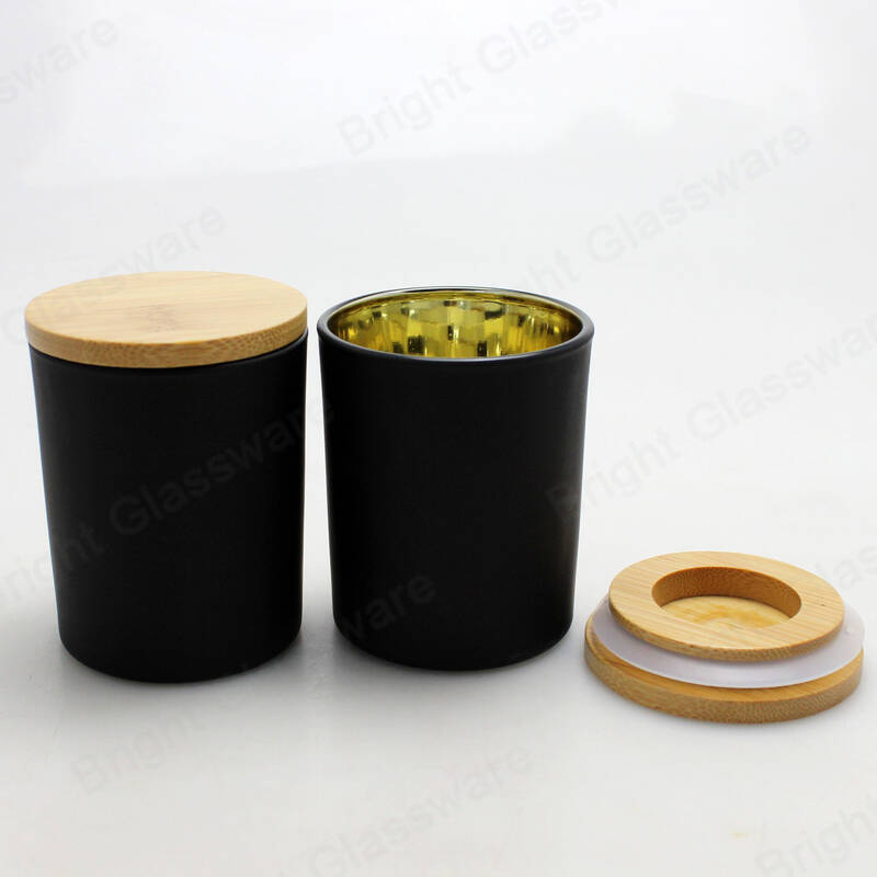 electroplate inside rose gold candle jar matte black glass votive candle holder with bamboo lid