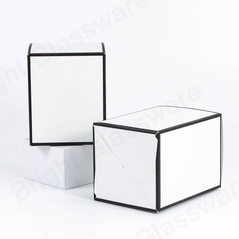 Large Oxford Candle Packaging Boxes No Window White & Black Edge For Soy Wax Candle Packaging