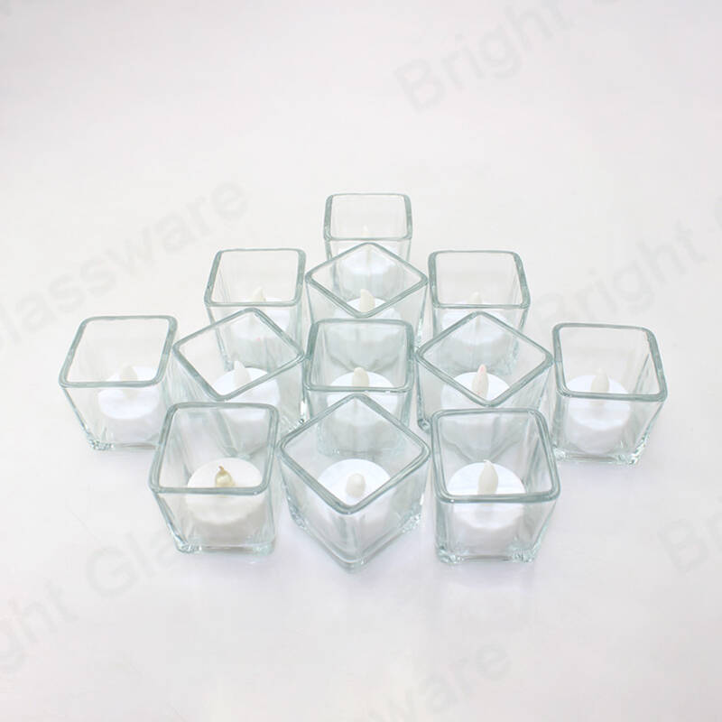 Modern Clear Crystal Scented Candles Square Glass Votive Candles Containers for wedding