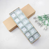 12 pcs Mini Square Tealight Glass Candle Holder Gift Set With Kraft Paper Packaging box for Wedding