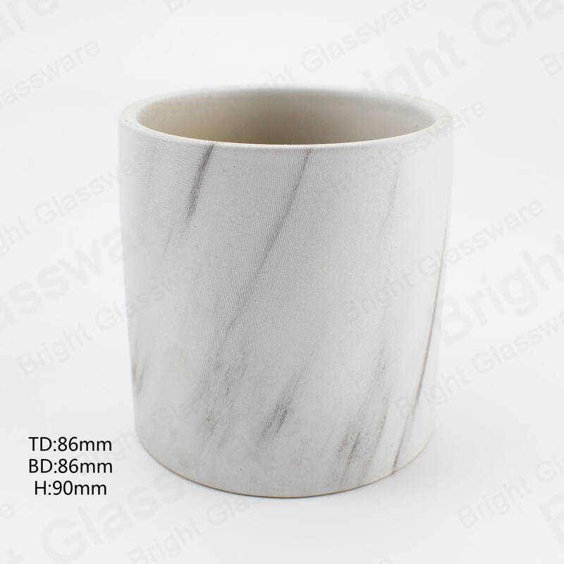 Custom Matte White Marble Ceramic Jar Cylinder Ceramic Candle holder for Home Christmas Decor