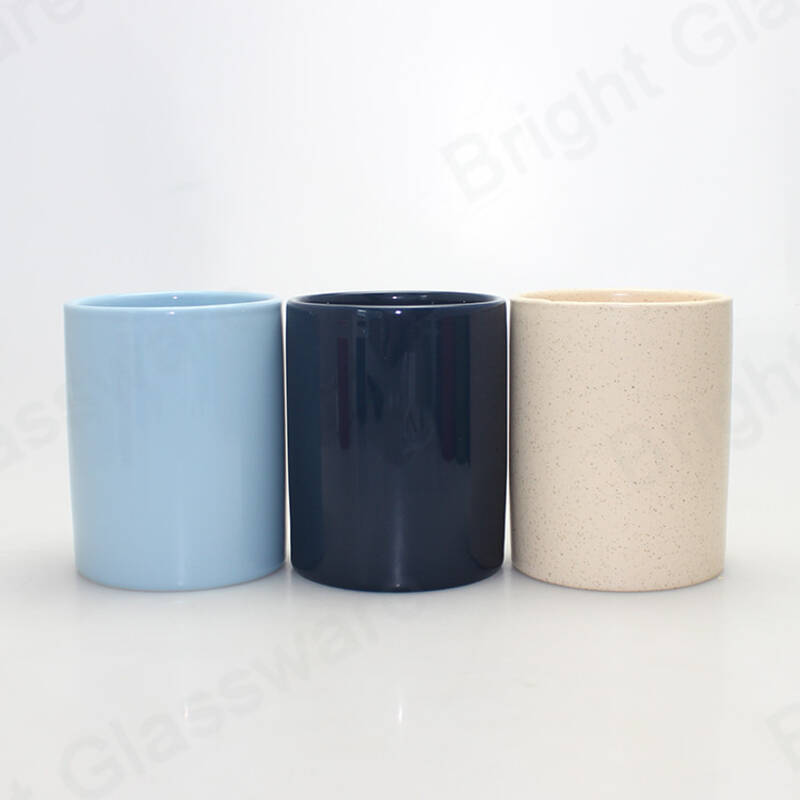 Top promotion colorful empty ceramic candle jar container for Christmas decoration