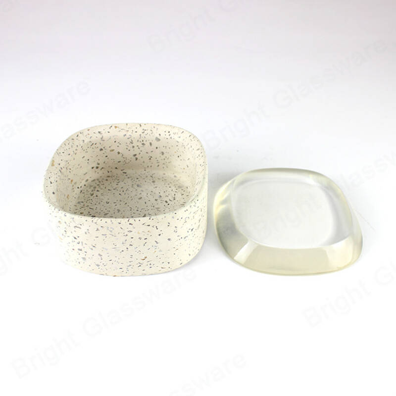 Home Goods Square Stone Chips Concrete Cement Candle Container Terrazzo Candle Jar With Lid