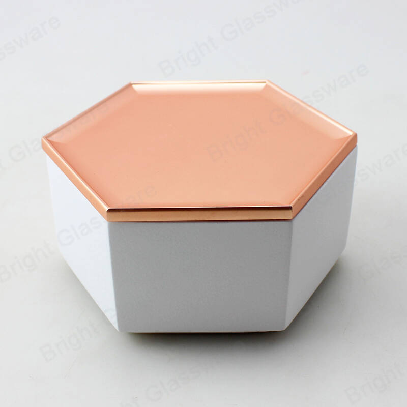 New design luxury white hexagon cement concrete candle jar with copper lid