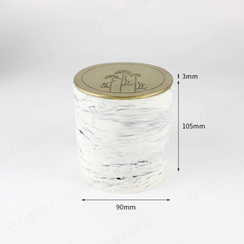 Marble effect waterproof cement candle vessels with thick wall and zinc alloy