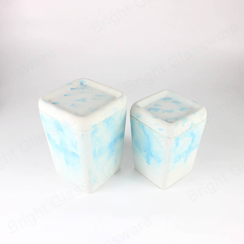 Custom Sky-blue Color Cement Candle Jar With Lid For Soy Wax
