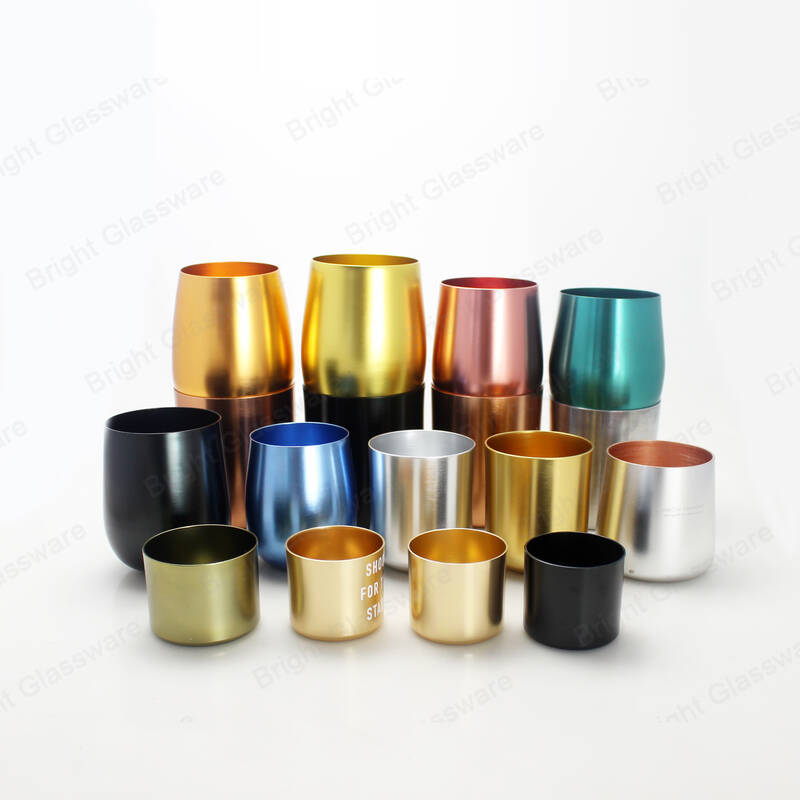 popular eco-friendly customized electroplating color oval shaped metal aluminum candle jar wholesale