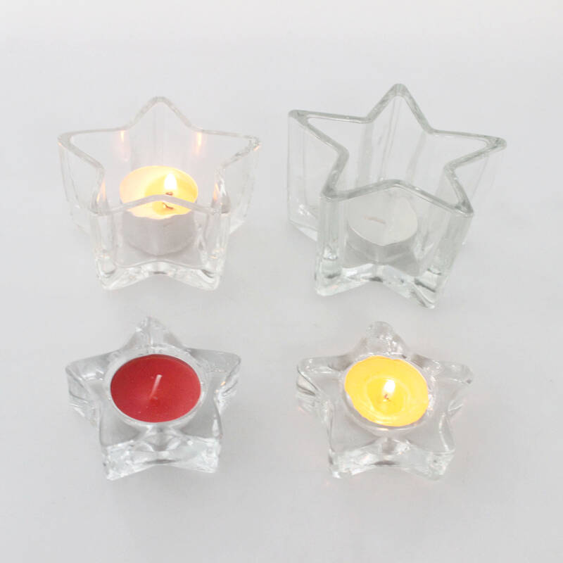 popular clear glass star form tealight candle holder for wedding decoration/gift/souvenir